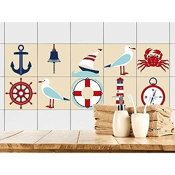 GRAZDesign 770383_15x15_FS10st Fliesenaufkleber Anker Maritim |  Fliesenbilder Für Bad | Braun   Weiß | Fliesen Zum