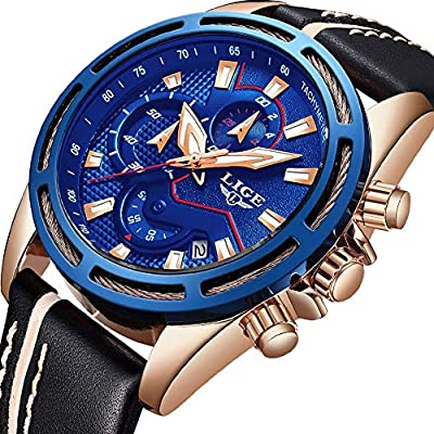 Reloj de Pulsera de Cuarzo Impermeable Casual clásico LIGE para Hombre.