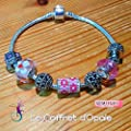 "Bracelet fleur""Hana-kan"" rose style Pandora avec perle Miyuki"