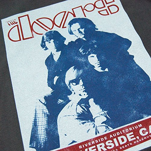 Amplified Offiziell The Doors Riverside Auditorium 1968 Retro T Shirt Holzkohle für Männer Holzkohle / Anthrazit