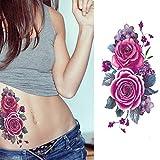 EROSPA® Tattoo-Bogen temporär - Blumen Motiv - Rosen lila / blau - 9 x 19 cm