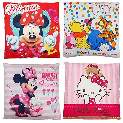 Kinder Baby Dekokissen Kuschelkissen Kissen Winnie Pooh Minnie Mouse Hello kitty 40 x 40 cm (Minnie Mouse - Rosa) (Mouse Minnie Kissen)