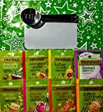 Twinings Variety Indulgence Green Tea Selection 50 assorted enveloped teabags with Stainless Steel Teabag Squeezer in a Green gift bag. Perfect Gift