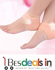 Three Secondz Pair Silicone Heel Pain Relieve Sock Cracked Foot Skin Care Protector Sleeve E ~ Set of 2