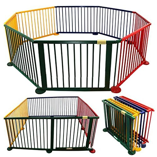 PanaCasa - Parque Valla Madera para Niños Bebé Barreras de Seguridad (1-6 años) Modelo de 8 Paneles