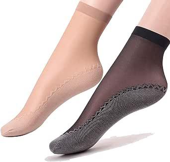 Ueither - 6 paia di gambaletti velati da donna, alla caviglia, con soletta in cotone antiscivolo e punta rinforzata