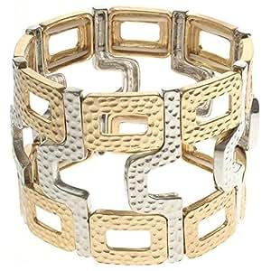 Doré et Argenté-Style martelé Deco Cuff Bracelet Stretch