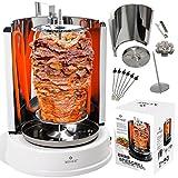 Kesser Dönergrill 1400W Spießgrill Kebap Rotisserie Drehgrill Hähnchengrill mit Drehspieß Grill Gyros - Gyrosgrill Schaschlikspieße | Gleichmäßige 360°C Hitzeverteilung | Tischgrill Weiß