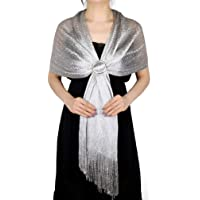 KAVINGKALY Scialli luccicanti metallici e impacchi per la cerimonia nuziale Sciarpa da ballo con frange