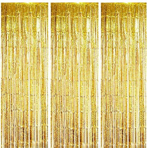 ONUPGO 3 Stück Gold Folienvorhänge Fransen, 1 m x 3 m, glänzendes Metallic-Lametta-Vorhang für Neujahr, Fotokabine, Türvorhang, perfekt für Geburtstag, Hochzeit, Weihnachten, Party-Dekorationen