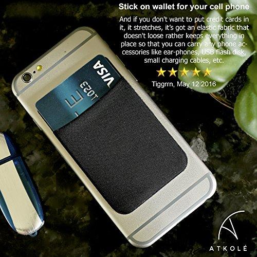 Atkolé Wallet - Cover iPhone 7 Plus e Samsung Galaxy S7 Edge Portafoglio Adesivo per Cellulare con nastro 3M (Nero) un Porta Carta di Credito, Porta Auricolari Nero