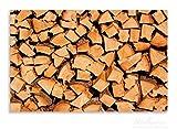 Wallario Herdabdeckplatte / Spritzschutz aus Glas, 1-teilig, 80x52cm, für Ceran- und Induktionsherde, Motiv Holzstapel gehackt - Holzscheite für den Kamin