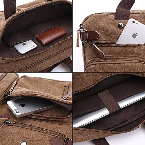 Herren Canvas Tasche Canvas Handtasche Schultertasche Ideal für Büro Canvas Rucksack Outdoor Khaki