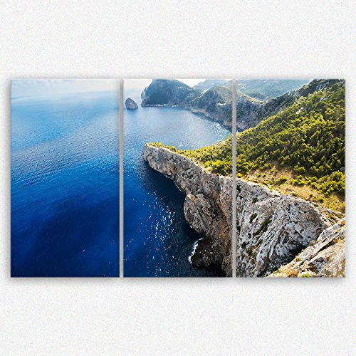 'GE de crea® imagen sobre lienzo con Otoño Descuento 'Mallorca veces Anders–España Natural Mar 2112, 165 x 100 cm 3 tlg.