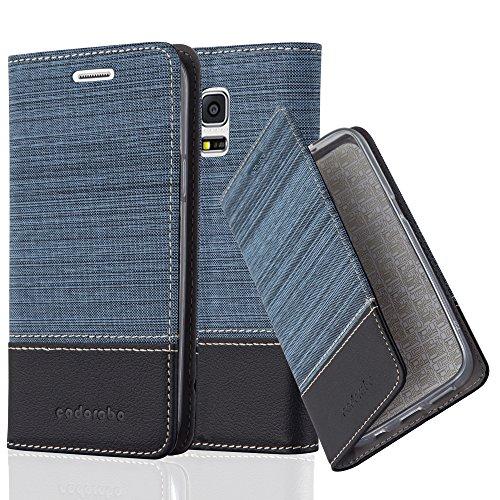 Cadorabo Hülle für Samsung Galaxy S5 Mini / S5 Mini DUOS - Hülle in DUNKEL BLAU SCHWARZ – Handyhülle mit Standfunktion und Kartenfach im Stoff Design - Case Cover Schutzhülle Etui Tasche Book