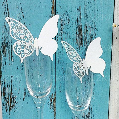 JZK® 50 x Perlato bianco segnaposto segnabicchiere per matrimonio nascita battesimo comunione compleanno festa o occasioni varie ( farfalla su bicchiere )
