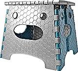 STARK Sgabello pieghevole con maniglia per bambini e adulti. Poggiapiedi Ultra Resistente fino a 120 kg, altezza 26,8 cm in grigio-blu per cucina, bagno, giardino, casa