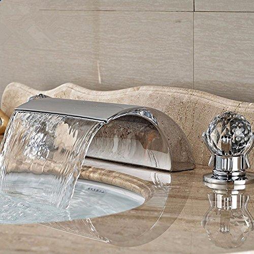 D1-licht-bad (LHbox Das Kupfer LED Waschbecken Wasserhahn Warmes und Kaltes Bad Armatur Wasserfall Split Drei Drei Stück, D1 Ohne Licht)