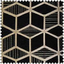 Exclusiva tela negro Color dorado brillante Patrón de diseño geométrico de la tapicería suave tejido de felpilla tela Ideal para muebles muebles Material