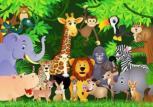 wandmotiv24 Fototapete Party, Urwald XL 350 x 245 cm - 7 Teile Fototapeten, Wandbild, Motivtapeten, Vlies-Tapeten Tiere, Wald, Kinderzimmer M0260 -