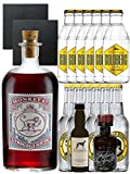 Gin-Set Monkey 47 SLOE GIN Dry Gin 0,5 Liter + Windspiel Dry Gin 0,04 Liter + Filliers Dry Gin 0,05 Liter, 6 x Thomas Henry Tonic Water 0,2 Liter, 6 x Goldberg Tonic Water 0,2 Liter + 2 Schieferuntersetzer quadratisch 9,5cm