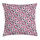 Geometric Throw Pillow Cushion Cover, Bullseye Pattern Circles with Stripes And Rhombuses Pastel Illustration, Decorative Square Accent Pillow Case, 18 X 18 Inches, Pink Pale Grey White