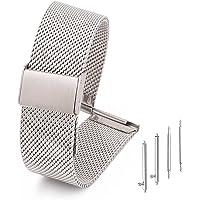 Adallor® Cinturino Orologio in Acciaio Maglia con Fibbia a Sgancio Rapido, Cinturino di Ricambio per Orology Universal e…