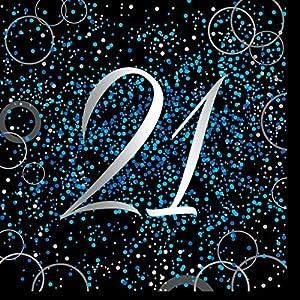 Unique Party Paquete de 16 servilletas de papel de 21 cumpleaños Color azul metálico brillante 57469