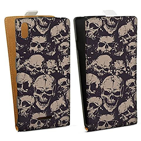 Sony Xperia T3 Case Protective Cover Wallet Case Book Style Skull Evil Gothic