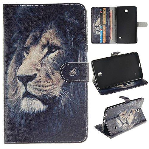 ab4 7'' Schutzhülle,Cover für Galaxy Tab4 7 Zoll Tablet,Folio Cover Wallet Case Stand Tasche PU Leder Hülle für Samsung Galaxy Tab 4 7.0 Zoll SM-T230 T231 T235 Tablet,*Mutige Löwe ()