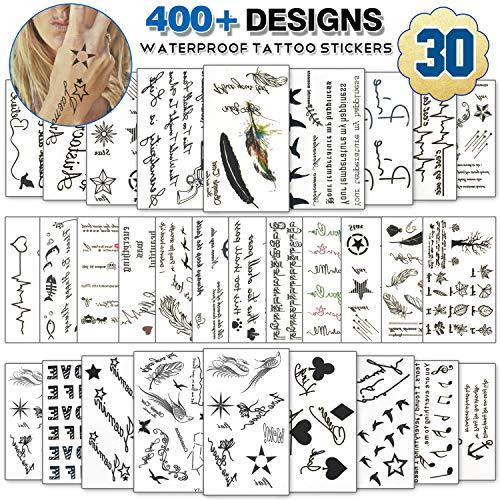 Temporäre Tattoos für Erwachsene Männer Frauen Kinder (30 Blätter), Wasserdicht Temporäre Tätowierung Fake Tattoos Body Art Aufkleber Vertuschen Set (ECG & Feather)