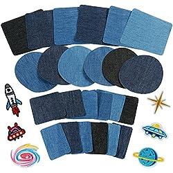 Anpro 30pcs Patchs,24PCS Denim Patch Bleu Ovale en Tissu 6PCS Patch Thermocollants, Patchs de Vetement pour t-Shirt Jeans Sacs Jupe Réparation d'enfant Adulte 3 Couleurs