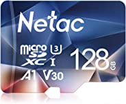 Netac 128G Micro SD Karte, UHS-I MicroSDXC Speicherkarte bis zu 90 MB/s Lesegeschwindigkeit(U3, A1, V30, 4K, C10), Memory Kar