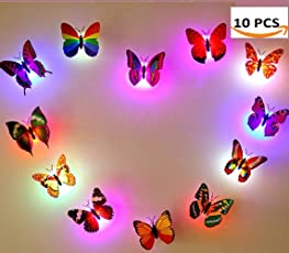 Pink Kites Led Wall Sticker Butterfly Led Night Light with Suction Pad (Pack of 10)