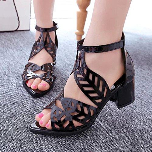 Longra Tinta unita donna primavera e l'estate PU materiale superiore lascia caviglia casuale tacco quadrato con cerniera Nero