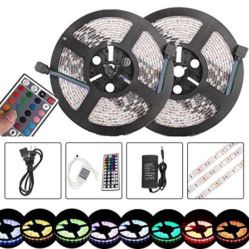 10m / 2x 5m LED Streifen Band 150LEDs Flexibel Wasserdicht RGB Farbe Change SMD 5050 LED Lichtkette Licht Strip Mit 44 Tasten Fernbedienung, 12V 5A Netzteil Trafo und RGB Controller