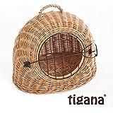 Tigana - Korbhöhle Transportkorb Transporthöhle Katzenhöhle aus Weide mit Gittertür und Tragegriff - Natur (45 cm ohne Kissen)