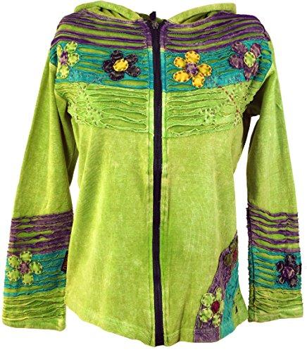 Goa Patchwork Jacke lemon / Boho Jacken und Westen Grün