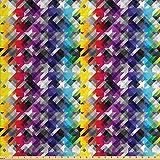 ABAKUHAUS Vistoso Tela por Metro, Pata De Gallo Diagonal, Decorativa para Tapicería y Textiles del Hogar, 3M (160x300cm), Multicolor