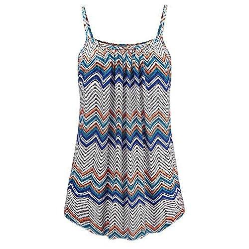 Damen Bekleidung T Shirt Bluse Tank Top Damen Camisole Sommer Lose Drucken Schwarz Blau Rosa Gro?e Gr??e Mode 2018 (6XL,Blau)