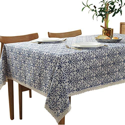 Nappe vintage Toechmo, Nappe de pique-nique rectangulaire en lin lavable, différentes tailles, Coton, BlueFlower, 55 X 98 Inch (150*250CM)