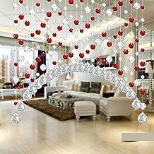 Arc acabado pulsera con cuentas de cristal para cortina damark (TM) moda cortina de Crystal Lujo salón dormitorio ventana puerta decoración de boda, Cristal transparente, Rojo, 1 m