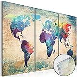 murando - Acrylglasbild Weltkarte 120x80 cm 3 Teilig - Glasbilder - Wandbilder XXL - Wandbild - Bilder - k-C-0014-k-e