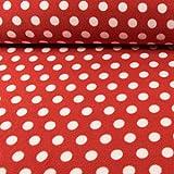 Polarfleece Tupfenmuster rot-weiß Fleece Stoffe Punkte -