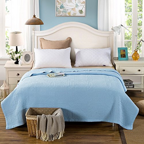 Unimall Double Size100% Cotton Quilted Bedspread Stitching Reversible Patchwork Cotton Throw Blanket Bed Couch Cover Sheet One Pieces, 200 * 230 cm Blue, Pink, Light Green