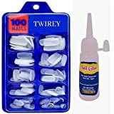 TWIREY Artificial Nails Set With Glue Acrylic fake/False Nails (Set Of 100 Pcs) and Artificial Nail Glue 3gm, Reusable