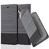 Cadorabo Hülle für LG G4 - Hülle in GRAU SCHWARZ – Handyhülle mit Standfunktion und Kartenfach im Stoff Design - Case Cover Schutzhülle Etui Tasche Book