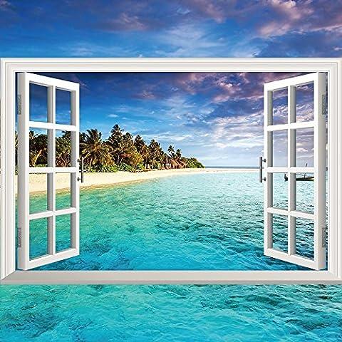 Wall 3d stereoscopic emulation windows landscape posters marine lavender 90*60cm,0997