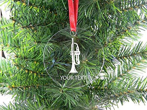 DKISEE Personalisierte Trompete aus klarem Glas, Weihnachtsbaum-Hängeornament, 7,6 cm Neuheit Gedenk-/Ornament, Geburtstagsgeschenk -