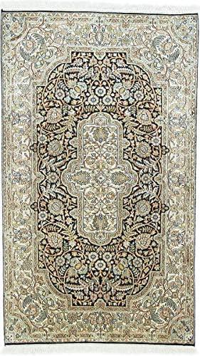 Nain Trading Cachemire Puri di di di Seta 156x91 Annodato a Mano Tappeto Orientale Beige Marronee Scuro India 18dfe9